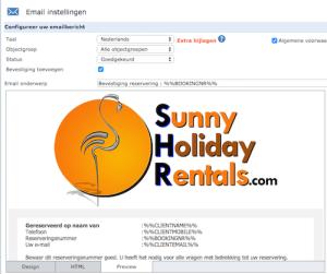 Logo in mailsjabloon naar de huurder