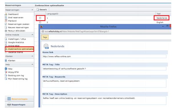 Zoekmachine optimalisatie Online Boekingsmodule