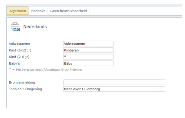 Online tekst in de online boekingsmodule